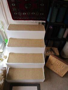 Large Flatweave Sisal carpet stair pads treads Natural Gold Beige 71cm x 22cm