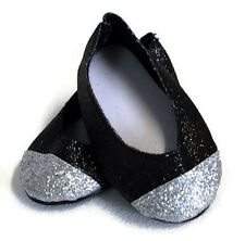 Black & Silver Glitter Dress Shoes made for 18 inch American Girl Doll Clothes