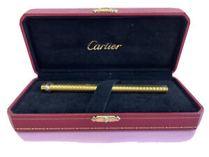 Vintage Authentic Cartier Ballpoint Pen Vendome Trinity 18K Gold Plated Box R12