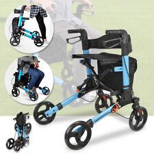 Upright Walker Stand Up Folding Rollator Walker with Basket & Adjustable Handle