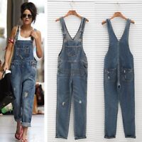Womens Washed Jeans Denim Casual Hole Loose Jumpsuit Romper Overall Pants LM