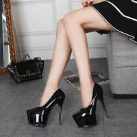 Women's Platform Stiletto Very High Heels Cocktail Evening Party Dress Slip On