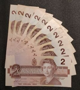 1986 Canada $2.00 Banknote Lot of 10 Notes Circulated