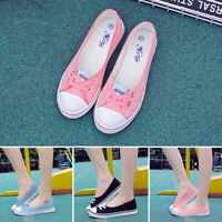 Women Girls Canvas Shoes Pumps Slip On Summer Flat Lace Up Loafers Spring Fall