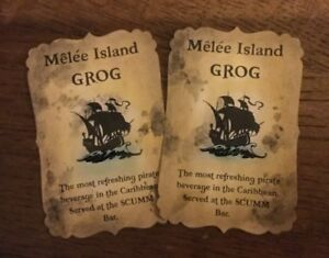 Handmade 'Melee Island Grog' Monkey Island Halloween Bottle Stickers - Set of 8