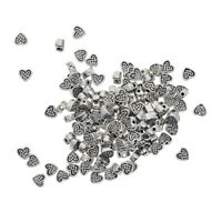 100pcs Tibetan Silver Alloy Heart Shape Spacer Beads Jewelry Making Charms