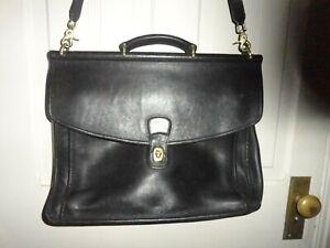 COACH Black Leather Briefcase EUC!