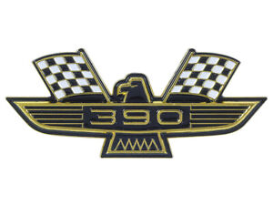 New 390 Ford Eagle Emblem Gold Plating Black-and-White Flags Galaxie Fairlane