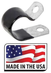 "(25) 1"" Black Vinyl Cushion Clamp Galvanized Steel 1 INCH MADE IN USA"