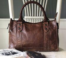 FRYE MELISSA Cognac Brown Pull-Up Leather Satchel Shoulder Handbag Crossbody