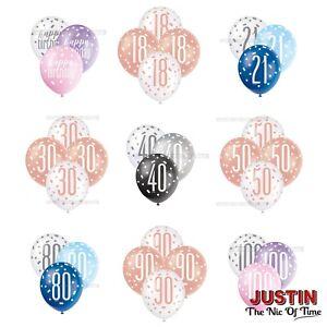 "LATEX Balloons 12"" X6 Glitz 13th-100th Milestone Birthday Party Pearlised NEW"