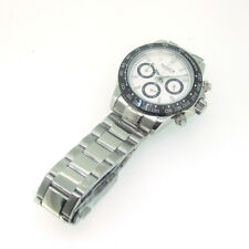39mm Parnis Sapphire Quartz Movement Mens Chronograph Watch Stainless Steel Band