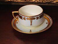 Antique Art Nouveau Tea Cup Saucer MZ Austria Hand Painted Porcelain Gold Ornate