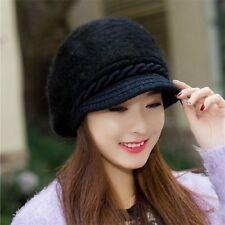 Lady Women Winter Warm Crochet Hat Braided Baggy Beret Cap Rabbit Fur Hat Beanie