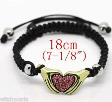 Adjustable Black BRAID BRACELET Sparkly Gold HAND HEART & Silver Beads BNIP