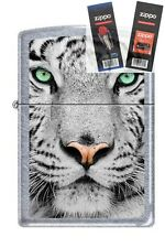 Zippo 0245 white tiger face Lighter with *FLINT & WICK GIFT SET*