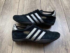 Adidas TITAN Vintage Original Suede Sneakers Black Silver Men's Size US 9 EU 42