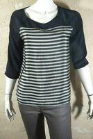 BONOBO CITY Taille L - 40 Superbe blouse manches 3/4 noir et beige chemise femme
