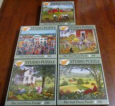 BITS & PIECES Lot Of 5 BRAND NEW 500 Piece Puzzles~Studio Puzzle~John Sloane