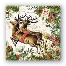 Michel Design Works 20 Triple-Ply Paper Cocktail Napkins Christmas Joy - NEW