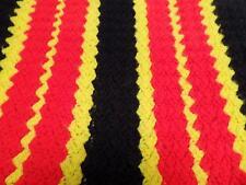 Crochet Crocheted Afghan Throw Striped Small Blanket Kids 37x30 Red Black Vtg