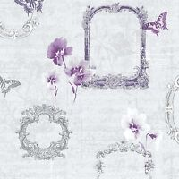 New Muriva Valentina Designer Vintage Feature Wallpaper  Purple 129501