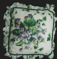 "WAVERLYGARDEN ROOM  SWEET VIOLETS PILLOW 15"" SQ. + 3"" RUFFLE"