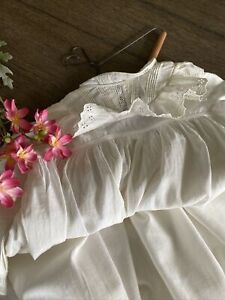 Antique Handmade Christening Gown with Heart Wood & Wire Hanger