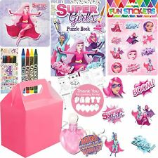 Pre Filled Baby Pink Girls Superhero Party Bags Boxes Childrens Birthday Gifts