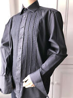 "MEN'S BLACK PLEATED FORMAL SHIRT COUTURE FESTIVE TUXEDO XMAS PARTY 46 X 16"" XL"