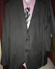 Men Suit Caravelli Collezione Charcoal Gray Pinstripe 42RX 36W 3 Pcs