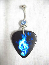 NEW BLUE FIRE G CLEF TREBLE SYMBOL GUITAR PICK ON BLUE CZ BELLY BAR NAVEL RING