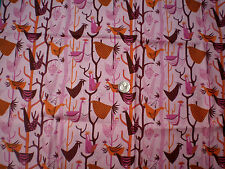 """21"""" Brown, Oange, & Rose Birds in a Tree on Pink Cotton Fabric"""