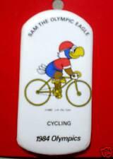 1984 OLYMPIC PIN BUTTON LA CYCLING ORIGINAL PACKAGING