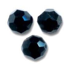 5 Perles Facettes cristal de boheme 12mm - JET NOIR