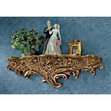 "30"" Art Nouveau Organic Floral Shapes Antiqued Gold Toned Brussels Wall Shelf"