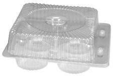 Douglas Stephen Plastics Bl40Sp 4 Compartment Hinged Lid Clear Cupcake Container