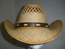 Rafia Cowboy Cowgirl Hat w/ Brown Band Western Hat Country Adult Unisex