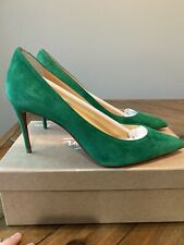 Christian Louboutin So Kate 85mm Suede Leather Green size 38.5 8.5 NIB