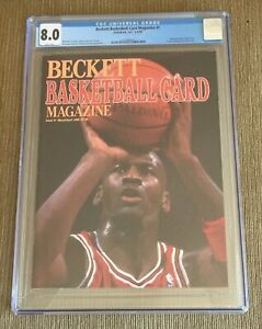 Michael Jordan 1990 Beckett Basketball Monthly #1 First Cover CGC 8.0 Newsstand