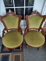 Antique Carved Wood Parlor Chairs Set of 2 Green Heavy Duty