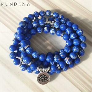 8MM 108 Blue Imperial Stone Buddha beads Silver Pendant Bracelet pray Healing