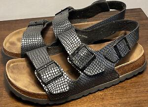 Birkenstock Betula size 39 Ladies 8 Men's 6 Back Strap Sandals Moc Croc Silver