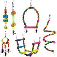 6 Pcs Bird Parrot Toys, Bird Swing Toy Colorful Chewing Hanging Hammock Swi C8N9