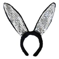 Black Plush Sequin Bunny Ears Headband ~ HALLOWEEN EASTER RABBIT COSTUME PARTY