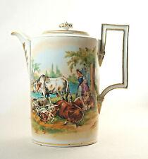 Antike Meissen Kaffeekanne Porzellan, handgemaltes Dekor, Beschädigungen. (3K4)