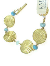 $58 Ralph Lauren Gold Tone Swirl Disc Turquoise Bead Toggle Bracelet  NEW