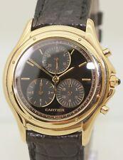 18K Solid Gold Unisex Cartier Cougar Chronograph 11621 Quartz 33mm Box & Papers