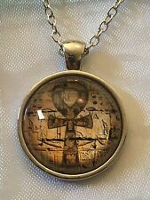 Ancient Egyptian Ankh. Glass Cabochon Dome Pendant Necklace. Silver Plated. NEW