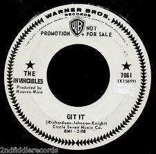 THE INVINCIBLES-Git It-Rare Northern Soul Promo 45-WARNER BROS. #7061